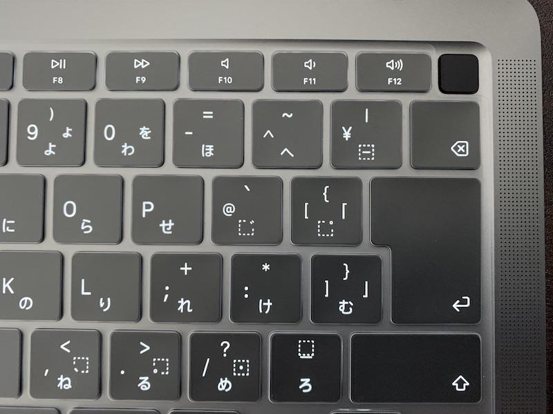 MacBookAir用 ALLFUNキーボードカバー装着後拡大