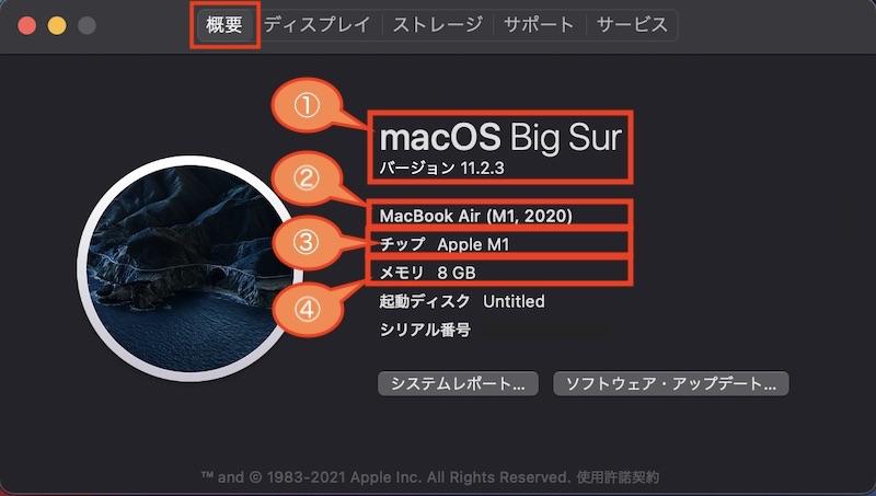 このMacについての概要 macOSバージョン、型式、チップ(プロセッサ)、メモリ