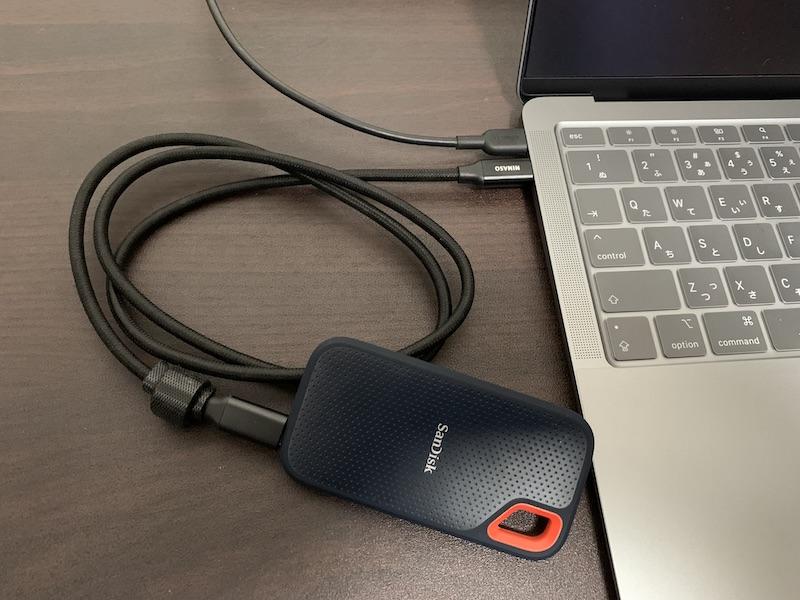 MacBookにUSB Type-C接続の外付けSSDを接続