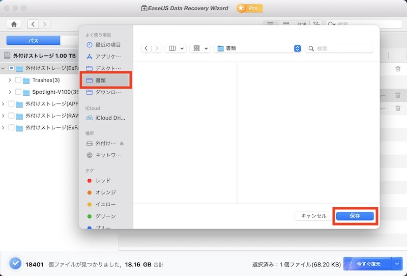 EaseUS Data Recovery Wizard for Mac 復元先選択