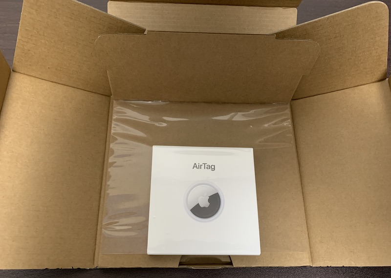 Apple AirTag梱包段ボール箱開封