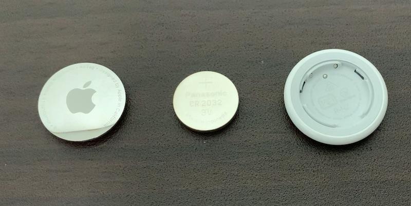 Apple AirTagのカバー、本体、電池
