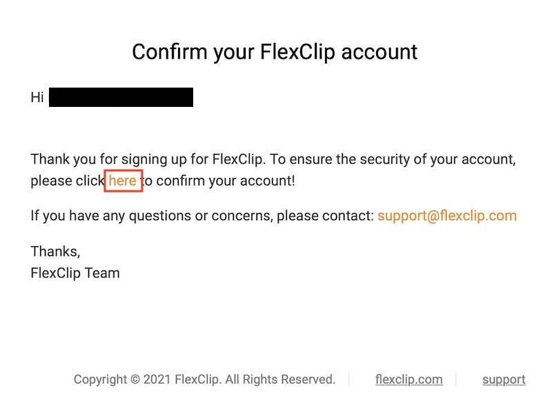FlexClipアカウント登録確認メール