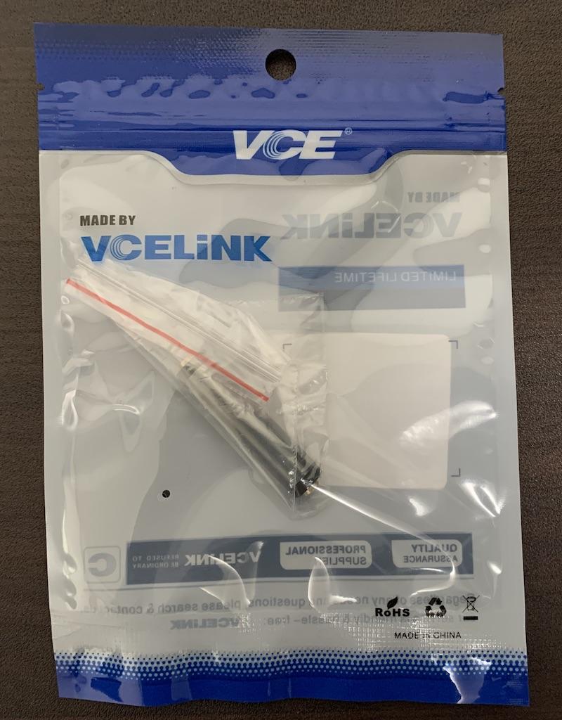VCE 3.5mm ステレオミニプラグ 中継コネクタパッケージ表側