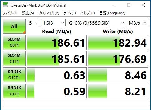 BUFFALO外付けHDD(HD-EDS6U3-BC)のデータ転送速度(CristalDiskMark)