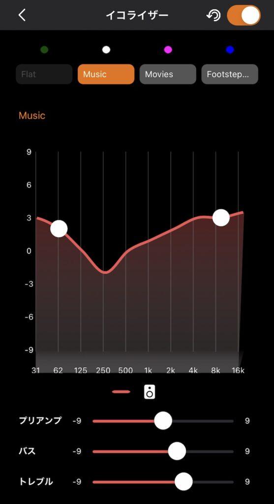 iPhone (iOS)版のCreativeアプリでSound Blaster X4を操作(イコライザーのカスタマイズ)