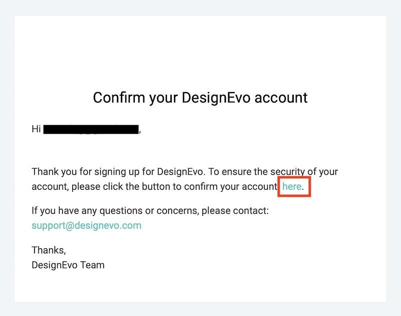 DesignEvoのアカウント登録メール
