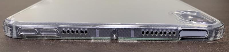 ESRのiPad mini6 用クリアケース装着後(側面フレームの上側)