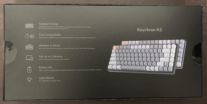 Keychron K2 JIS日本語配列のパッケージ裏側