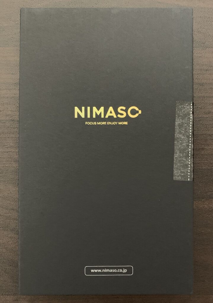 NIMASO iPhone13 mini用ガラスフィルムのパッケージ表側