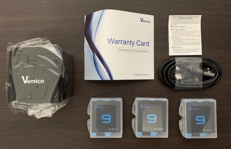 GoPro9、GoPro10で使えるVemicoのバッテリーと充電器(付属品、内容物)