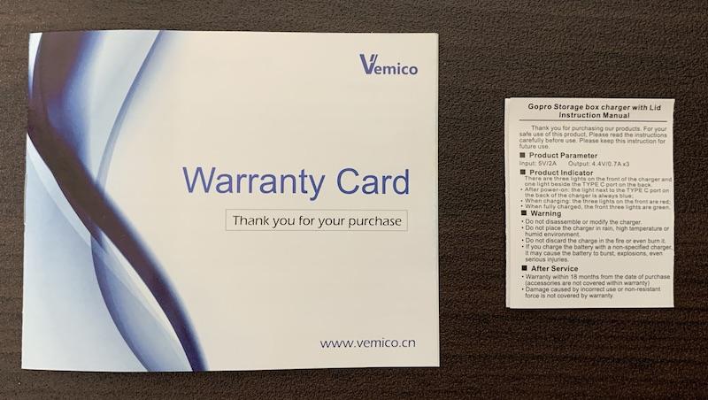 GoPro9、GoPro10で使えるVemicoのバッテリーと充電器(付属の書類)