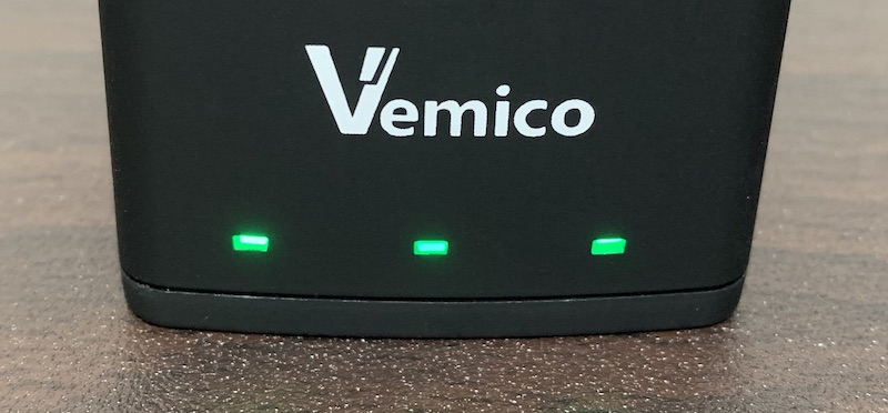 GoPro9、GoPro10で使えるVemicoのバッテリーと充電器(3本全て充電完了)
